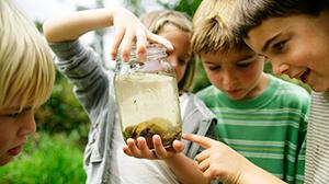Kinderen met bokaal met kikkervisjes
