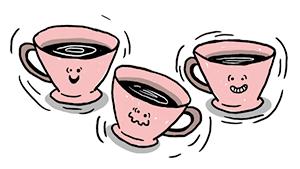 Illustratie: Bange en blije koffiekopjes