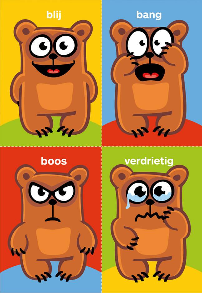 Blij - Bang - Boos - Verdrietig kaartjes