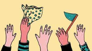 Handen die wuiven met vlagjes