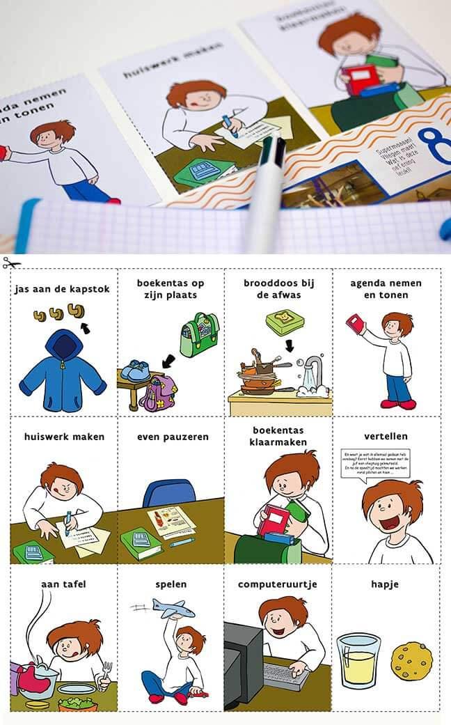 Kaartjes om zelfstandig huiswerk te maken