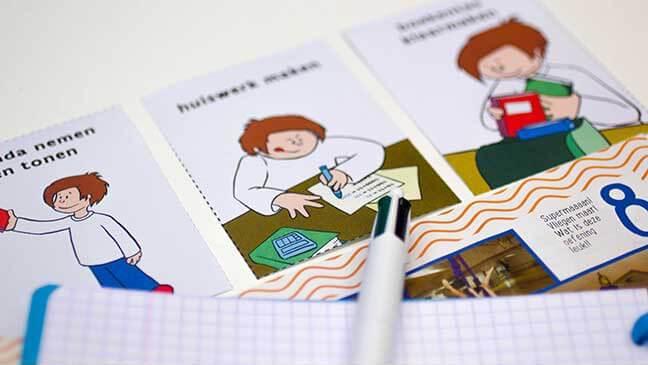 Kaartjes zelfstandig huiswerk maken