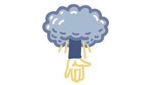 illustratie van hand die uit wolk naar beneden reikt