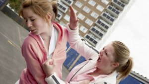 twee vechtende meisjes