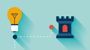 illustratie met kasteeltoren en lamp