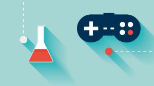 Illustratie met erlenmeyer en game controller