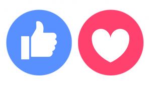 duim en hart icoontjes Facebook