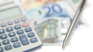 eurobiljetten en rekenmachine