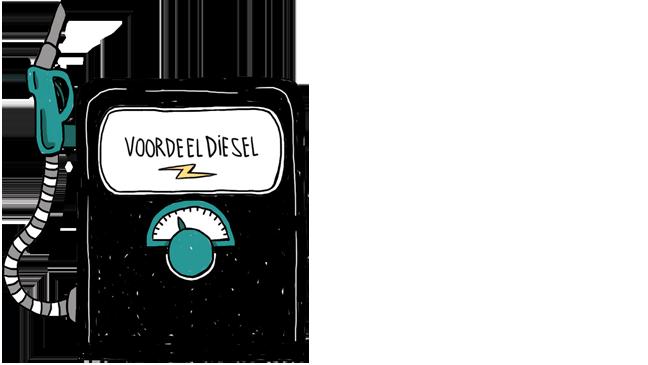 illustratie van pomp met 'voordeeldiesel'