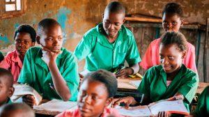 Leerlingen in klas in Zambia