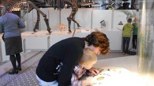 Mama en kindje doen samen een opdracht in het Museum van Natuurwetenschappen