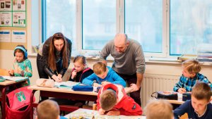 leraren Sarah en Do doen aan co-teaching