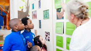 Kinderen kijken naar vlinder paneel in Het Kindermuseum Elsene